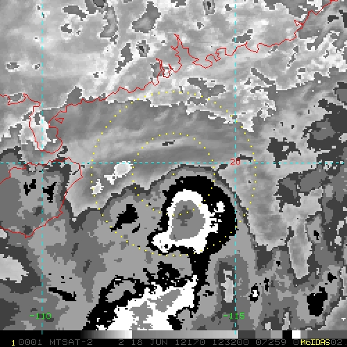 2 Km Storm Relative IR Imagery With BD Enhancement Curve